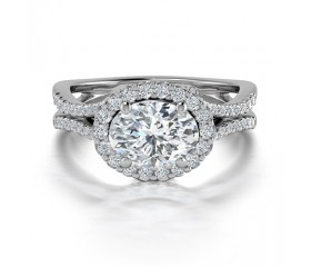 Oval Shaped Split Shank Diamond Engagement Ring in 14K White Gold comprised of 1.36ctw