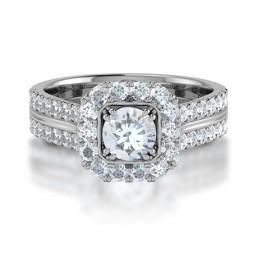 Cushion Shape Double Claw Halo Diamond Engagement