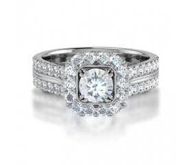 Cushion Shape Double Claw Halo Diamond Engagement Ring set in 14K White Gold, comprised of 1,40ctw