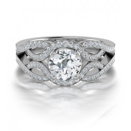 Designer Diamond Engagement Ring in 14K White Gold comprised of 1.44ctw