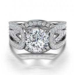 Deisgner Diamond Engagement Ring in 14K White Gold comprised 2.08ctw