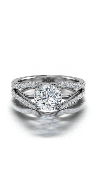 Split Shank Diamond Engagement Ring in 14K White Gold Comprised of 1.36ctw