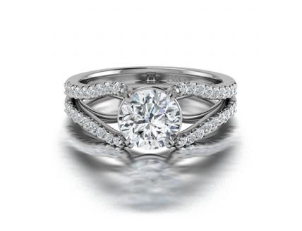 Split Shank Diamond Engagement Ring in 14K White Gold Comprised of 1.36ctw