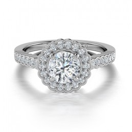 Classic Diamond Halo Engagement Ring in 14K White Gold comprised of 1.03ctw
