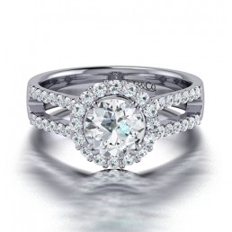 Split Shank Classic Diamond Halo Engagement Ring In 14K White Gold comprised of 1.32ctw