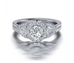 Three Stone Diamond Engagement Ring in 14K White Gold comprised of