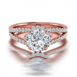 Split Shank Diamond Halo Engagement Ring in 14K Rose Gold comprised of 1.52ctw