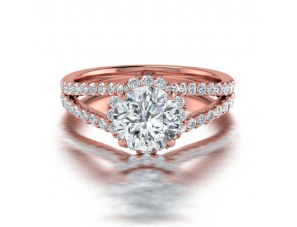 Classic Double Claw Diamond Engagement Ring in 14K Rose Gold