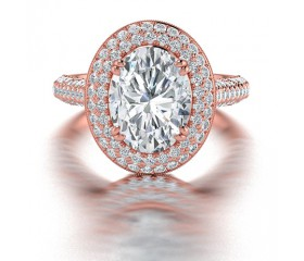 Oval Shape Diamond Halo Engagement Ring in 14K Rose Gold comprised of 3.05ctw