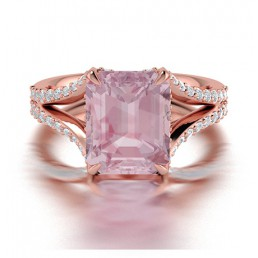 Emerald Cut Split Shank Morganite and Diamond Engagement Ring Comprised 2.10ct Morganite and 0.55ctw
