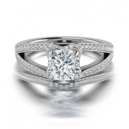 Cushion Cut Split Shank Diamond Halo Engagement Ring