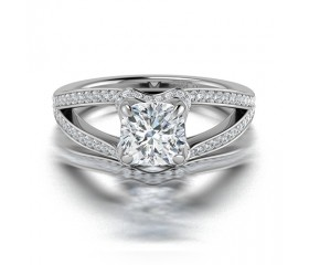 Cushion Cut Split Shank Diamond Halo Engagement Ring