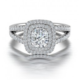 Cushion Cut Double Halo Diamond Engagement Ring in 14K White Gold Comprised of 1.47ctw
