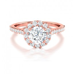 Classic Round Diamond Halo Engagement Ring Comprised 1.16ctw