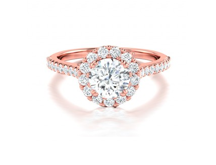 Classic Round Diamond Halo Engagement Ring Comprised 1.16ctw