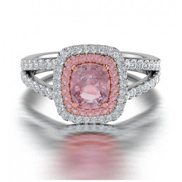 Cushion Cut Double Halo Morganite and Diamond Engagement Ring in 14K Two Tone Gold Comprised of 0.91ctw Morganite and 0.51ctw Diamonds
