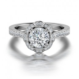 Classic Diamond Halo Double Claw Diamond Engagement Ring