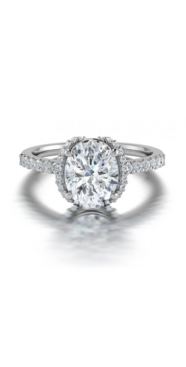 Oval Shaped Diamond Engagement Ring in 14K White Gold
