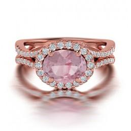 Oval Shaped Split Shank Morganite and Diamond Engagement Ring in 14K Rose Gold