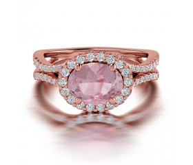 Oval Shaped Split Shank Morganite and Diamond Engagement Ring in 14K Rose Gold