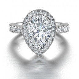 Pear Shape Diamond Halo in 14K White Gold comprised of 3.53ctw