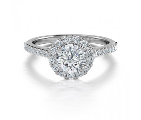 Classic Round Diamond Halo Engagement Ring in 14K White Gold Comprised 1.16ctw