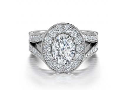 Split Shank Oval Diamond Halo Engagement Ring in 14K White Gold Comprised of 2.36ctw