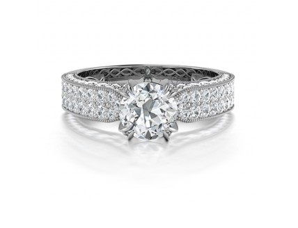 Diamond Engagement Ring Pave Sides in 14K White Gold Comprised 1.85ctw