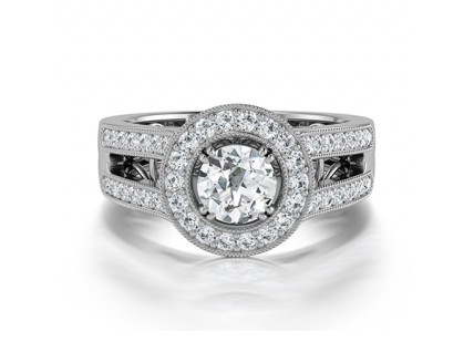 Split Shank Diamond Halo Engagement Ring in 14K White Gold Comprised of 1.20ctw