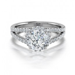 Split Shank Diamond Halo Engagement Ring in 14K White Gold comprised of 1.52ctw