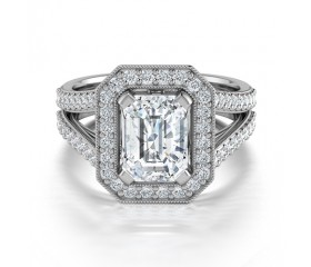 Diamond Halo Engagement Ring in14K White Gold Comprised of 2.60ctw