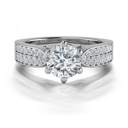 Six Claw Diamond Ring with Double Channel Sides in 14K White Gold comprised of 3.05ctw
