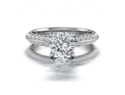 Knife Edge Solitaire Diamond Ring with Pave Side Stones in 14K White Gold comprised of 1.32ctw