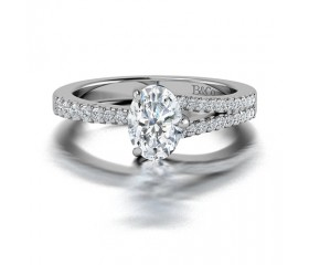 Oval Cut Single Split Diamond Ring in 14K White Gold comprised