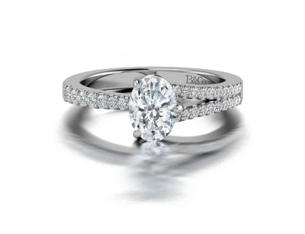 Oval Cut Single Split Diamond Ring in 14K White Gold comprised