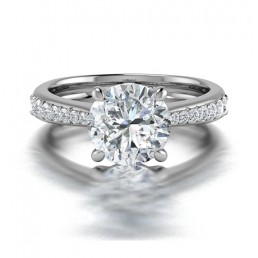 Classic Claw SetvDiamond Ring Side Stones in 14K White Gold comprised of 1.44ctw