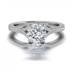 Split Shank Diamond Ring With Side Stones in 14K White Gold