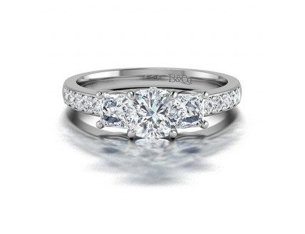 Cushion and Princess Triliogy  Diamond Engagement Ring with side stones  in 14K White Gold Comprised 1.42ctw