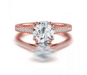 Cushion Cut Diamond Ring with Side Stones in 14K White Gold comprised of 1.36ctw