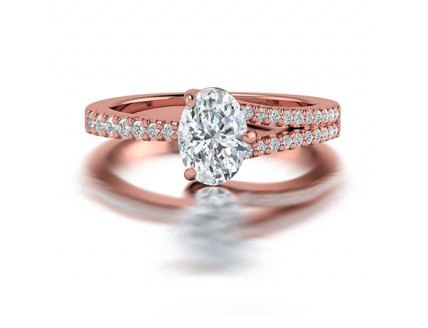 Oval Cut Single Split Diamond Ring in 14K Rose Gold comprised of 1.09ct