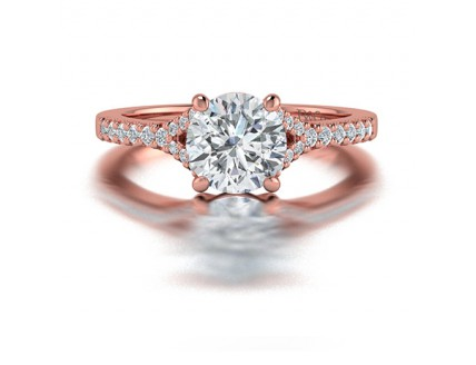 Split Shank Diamond Ring With Side Stones in 14K Rose Gold comprised of 1.67ctw