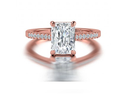 Emerald Cut Diamond Ring withPave Side Stones in 14K Rose Gold comprised of 1.94ctw