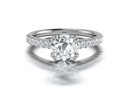 Double Claw Round Diamond Engagement Ring with Pave Side Stones comprised 1.30ctw