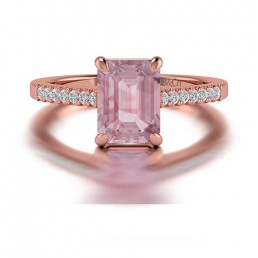 Emerald Cut Split Shank Morganite and Diamond Engagement Ring