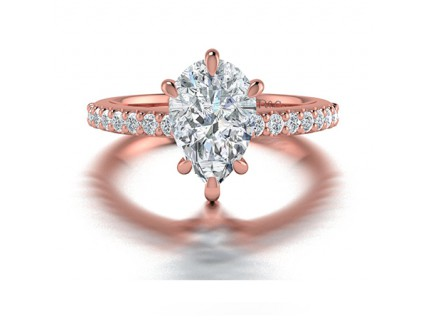 Pear Shaped Diamond Ring with Pave Side Stones in 14K Rose Gold comprised of 1.74ctw