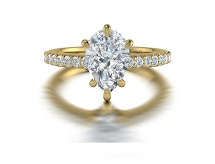 Pear Shaped Diamond Ring with Pave Side Stones in 14K Yellow Gold comprised of 1.74ctw