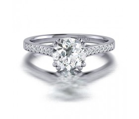 Double Claw Round Diamond Engagement  Ring with Channel Side Stones  in 14K White Gold Comprised of 1.16ctw