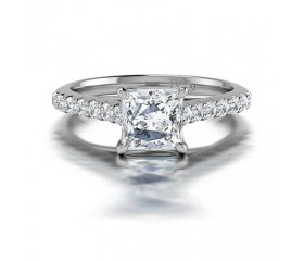 Princess Cut Diamond Engagement Ring Pave Sides in 14K White Gold Comprised 1.85ctw