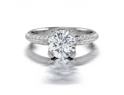 Classic Diamond Engagement Ring with a Knife Edge band and Pave Sides in 14K White Gold Comprised of 1.59ctw