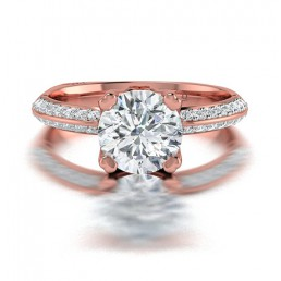 Classic Diamond  Engagement Ring with a Knife Edge Band and Pave Sides in 14K Rose Gold comprised of 1.59ctw